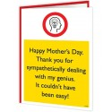 Warning Card - Thank You For Sympathetically Dealing With My Genius