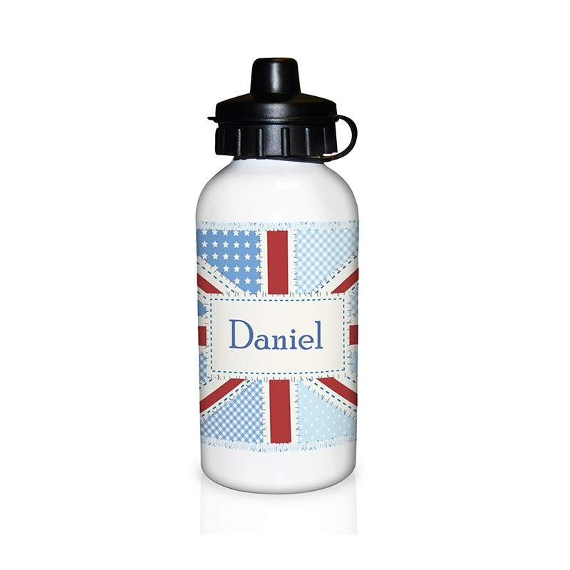 Personalised - Patchwork Union Jack Drinks Bottle