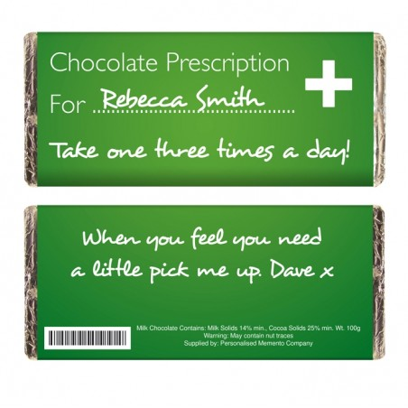Personalised - Chocolate Prescription Bar
