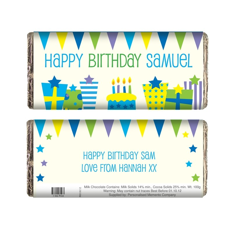 Personalised - Blue Birthday Presents Chocolate Bar