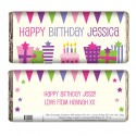 Personalised - Pink Birthday Presents Chocolate Bar