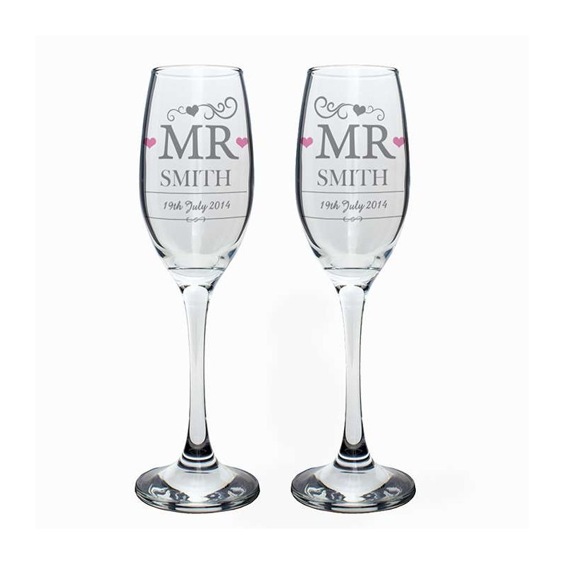 Personalised - Mr & Mr Pair Of Flutes