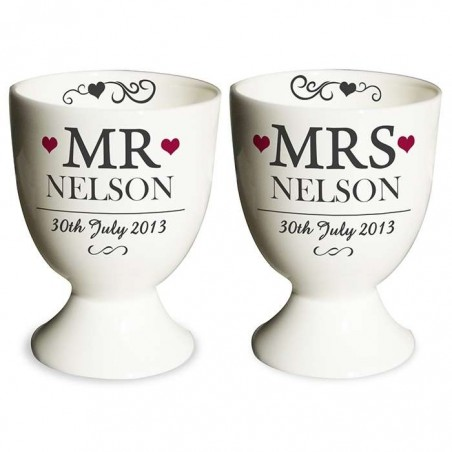 Personalised - Mr & Mrs Pair Of Egg Cups