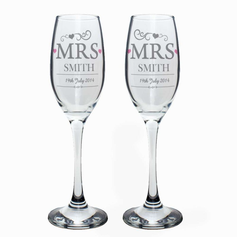 Personalised - Mrs & Mrs Pair Of Flutes