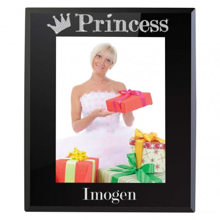 Personalised - Bling Princess Black Glass 5x7 Frame