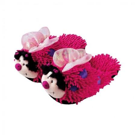 Kids Fuzzy Friends Slippers - Pink Butterfly