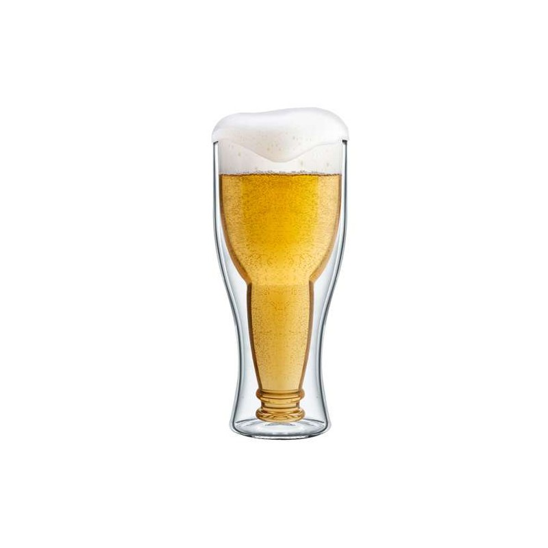 Bottoms Up Double Wall Beer Glass