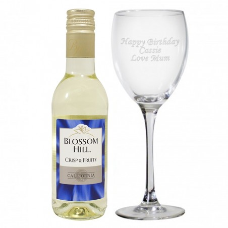 Personalised - White Wine and Glass Gift Set