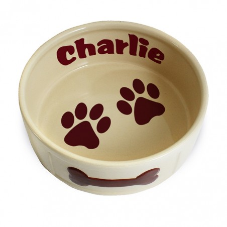 Personalised - Large Brown Paws Dog Bowl