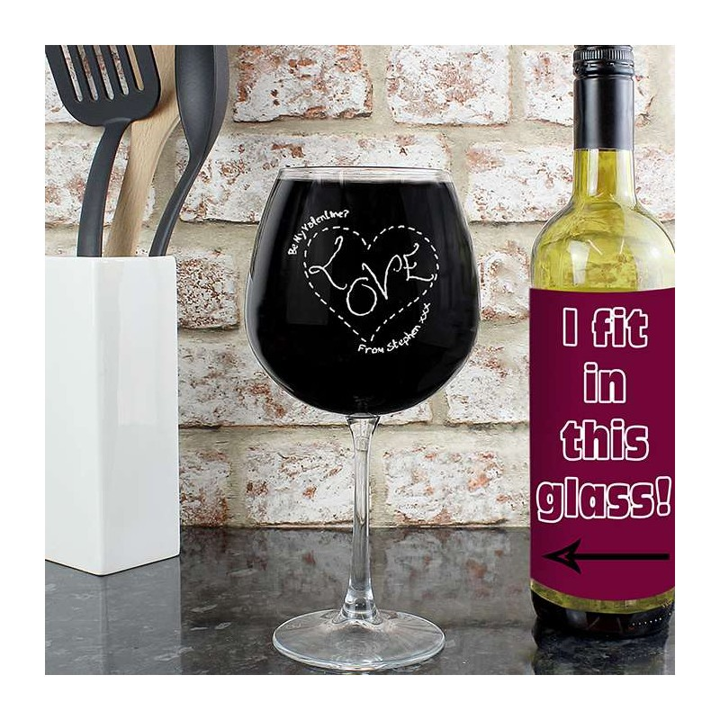 Personalised - Heart Stitch Love Bottle of Wine Glass