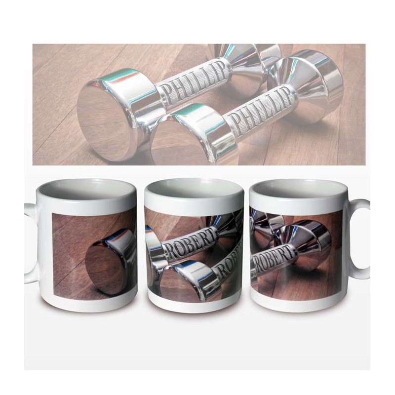 Personalised - Silver Dumb Bells Mug