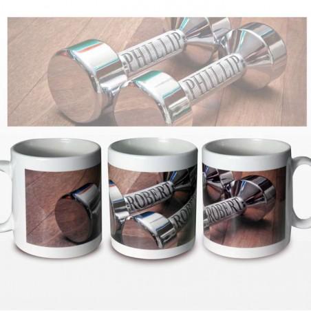 Personalised - Silver Dumb Bells Mug