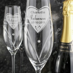 Personalised - Hand Cut Big Heart Diamante Flutes with Swarovski Elements