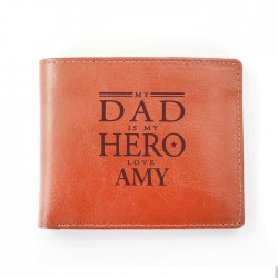Personalised - My Dad is My Hero Tan Wallet