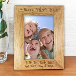 Personalised - 6x4 Happy Fathers Day Wooden Photo Frame