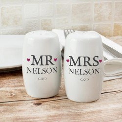 Personalised - Mr & Mrs Salt And Pepper Set