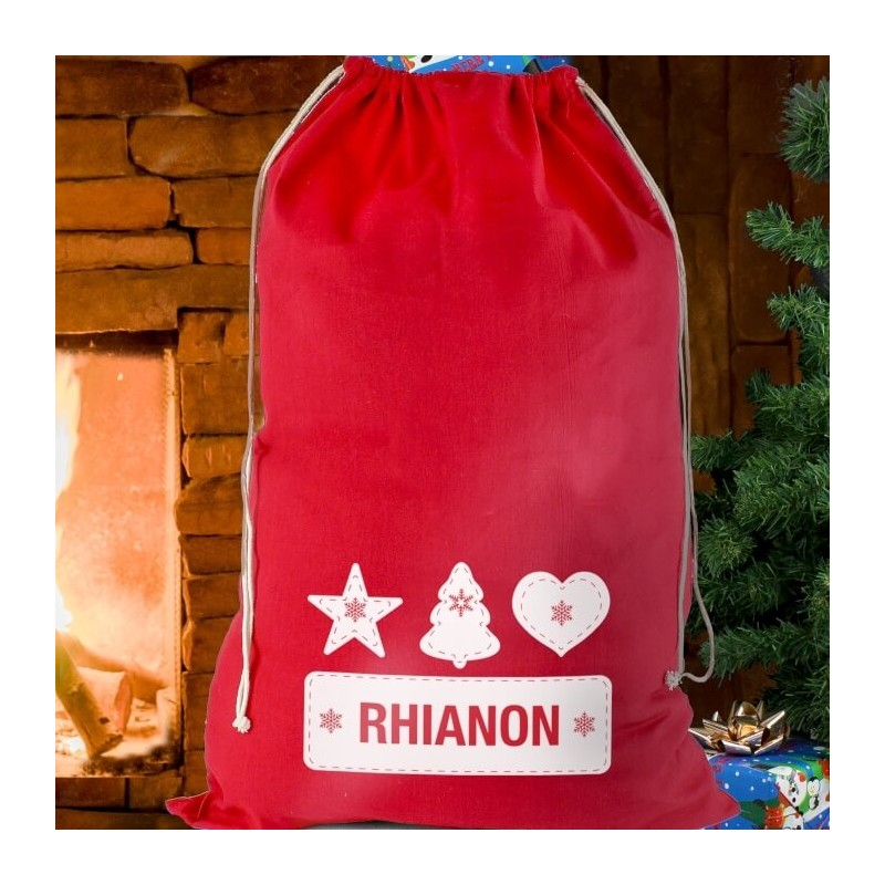 Personalised - Festive Stitch Cotton Sack