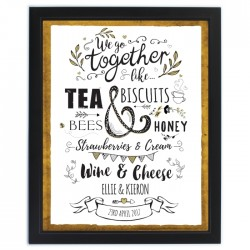 Personalised - We Go Together Like... Black Poster Frame