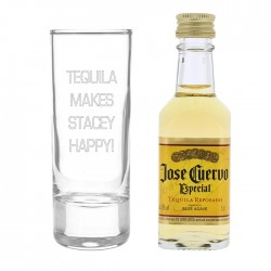 Personalised - Shot Glass With Mini Tequila