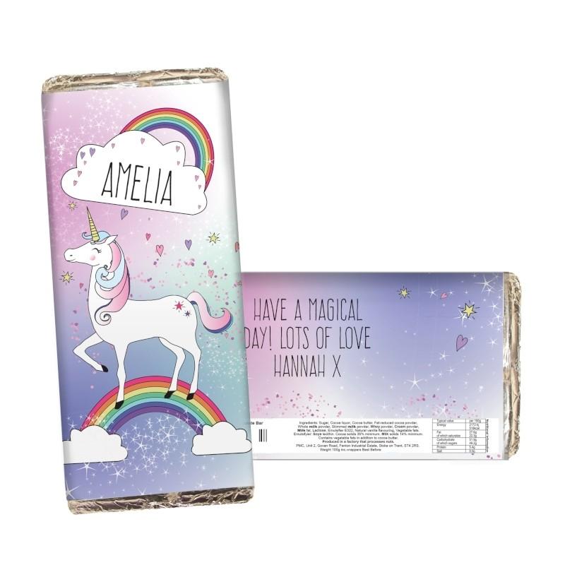 Personalised Unicorn Chocolate Bar