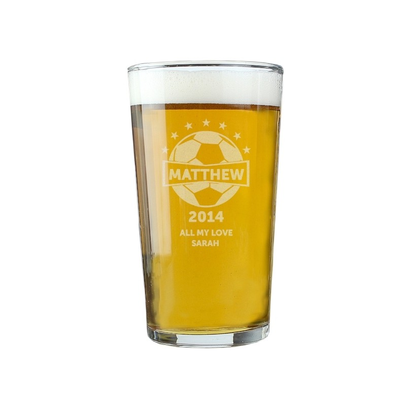 Personalised - Football Pint Glass